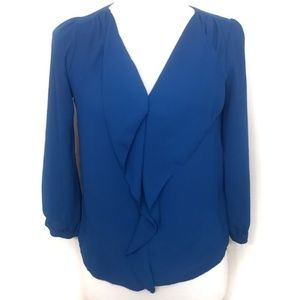 Maeve Vibrant Blue Parted Ruffle Front Blouse